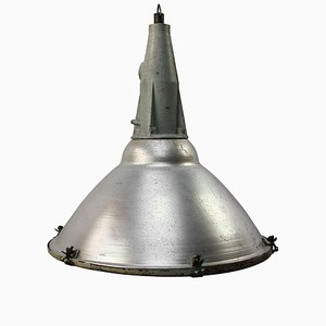 Industrial Grey Aluminum and Cast Iron Pendant Lamp, 1950s