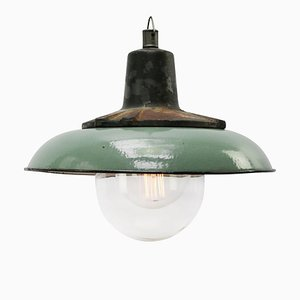 Industrial Cast Iron and Petrol Enamel Pendant Lamp, 1950s