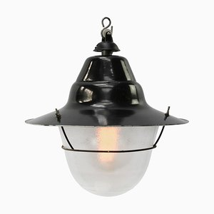Industrial Black Enamel and Frosted Glass Pendant Lamp, 1950s