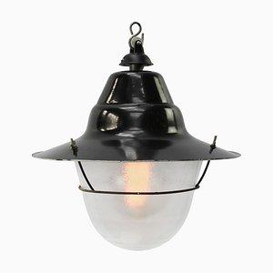 Lampe à Suspension Industrielle en Émail Noir et en Verre Givré, 1950s