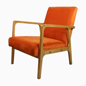 Vintage Orange Velvet Armchair, 1970s