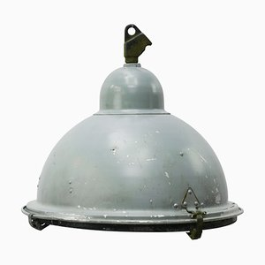 Industrial Grey Aluminium and Cast Iron Pendant Lamp, 1950s