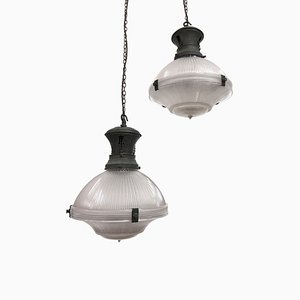 Three Part Prismatic Glass Pendant by Holophane for Holophane, 1920s, Set of 2