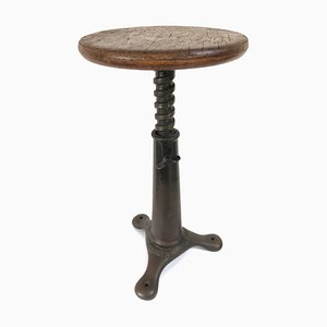 Industrial Cast Iron and Oak Stool by Singer for Singer, 1930s