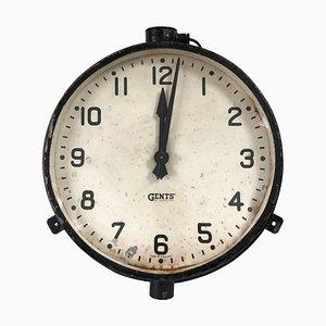 Reloj de pared industrial vintage de la estación de tren de Gents of Leicester, años 30