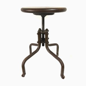 Vintage French Industrial Adjustable Factory Machinist Swivel Stool