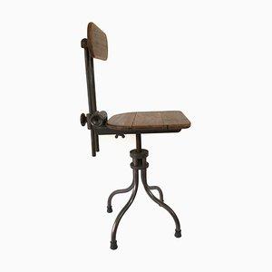 Taburete giratorio industrial francés vintage ajustable de maquinista