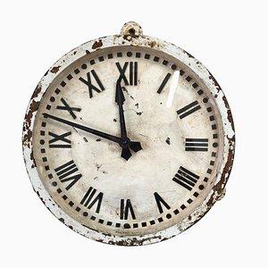 Horloge de Gare Murale Gents de Leicester Factory en Fer Forgé Blanc