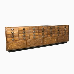 Vintage Industrial Oak Haberdashery Glass Display Shop Counter Cabinet