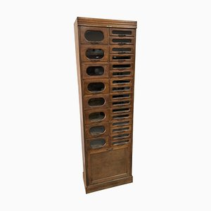 Vintage Industrial Oak Haberdashery Drawers Shop Cabinet by Dudley & Co Ltd.
