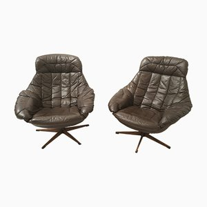 Danish Cow Leather Lounge Chairs by H. W. Klein for Bramin, 1970s, Set of 2