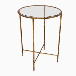 Mid-Century French Bronze & Smoked Glass Side Table from Maison Baguès