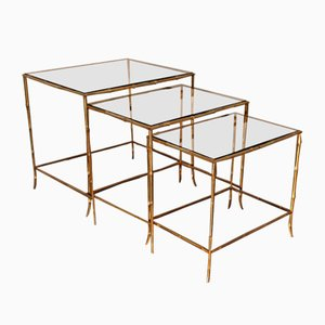 Mid-Century French Bronze and Smoked Glass Nesting Tables from Maison Baguès