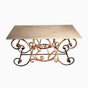 Tavolo da macellaio antico in ottone e ferro