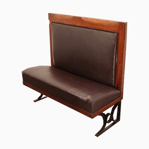 Antique French Leather and Mahogany Metro Bench