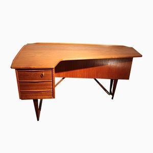 Boomerang Schreibtisch aus Messing & Teak von Peter Løvig Nielsen, 1960er