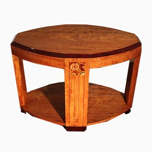 Art Deco Rosewood, Ebony, and Walnut Side Table, 1930s