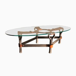 Glass and Leather Coffee Table by Jacques Adnet, 1960s