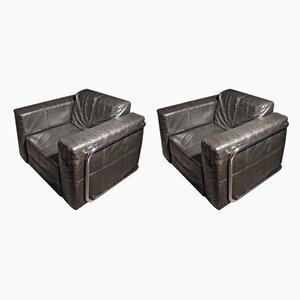 Club chair vintage in pelle, set di 2