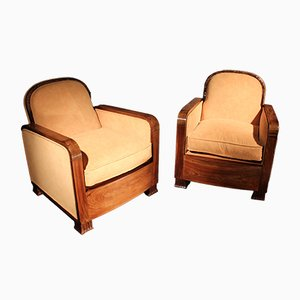 Art Deco Sessel aus Nussholz, 1930er, 2er Set
