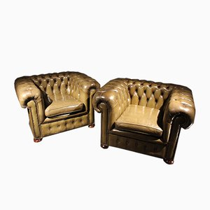 Vintage Chesterfield Armchairs, 1970s, Set of 2