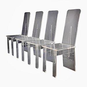 Französisches Set mit Esstisch & 4 Stühlen aus Plexiglas, 1974