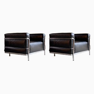 LC3 Armchairs by Le Corbusier, Pierre Jeanneret & Charlotte Perriand for Cassina, 1980s, Set of 2