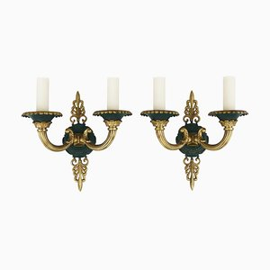 Empire Style French Bronze Sconces, 1940s, Set of 2