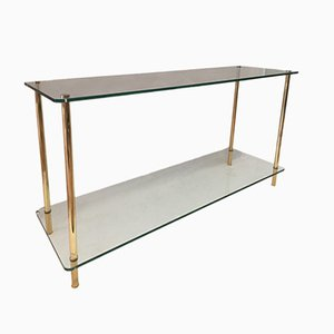 Rectangular Brass and Glass Console Table, 1970s