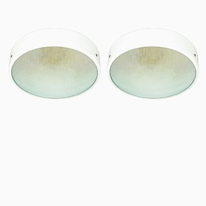 Italian Optical Convex Ceiling Lamps, 1950s, Set of 2
