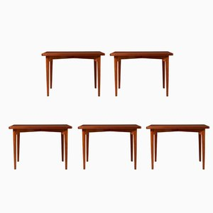Danish Teak Tables by Palle Suenson for J. C. A. Jensen, 1940s, Set of 5