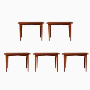 Danish Teak Tables by Palle Suenson for J. C. A. Jensen, 1940s, Set of 5