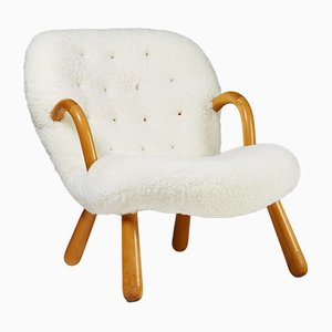 Danish Birch & Lambskin Clam Easy Chair by Philip Arctander, 1944