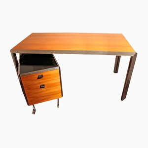 Vintage Metal and Veneer Desk & Drawer Set, 1970s