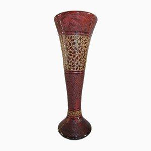Große französische Art Deco Vase aus graviertem Glas von Daum, 1930er