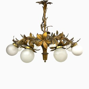 Mid-Century Brass and Glass Ceiling Lamp, 1960s
