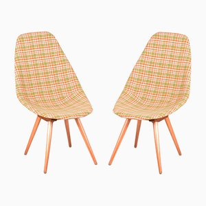 Chaises de Bureau en Hêtre et Tissu d'Ameublement par Miroslav Navratil, 1950s, Set de 2