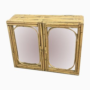 Mid-Century Mirror and Wicker Cupboard, 1960s