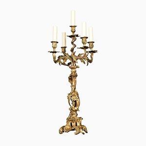 Lampada da tavolo antica in bronzo dorato
