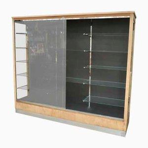 Libreria Art Déco in vetro e metallo cromato di Leclerc, Francia, anni '30