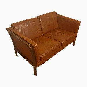 Sofá danés vintage de cuero marrón, años 70