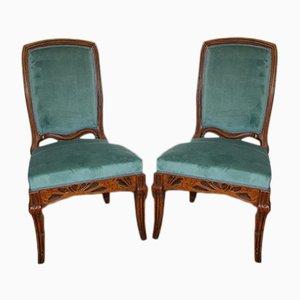 Antike Französische Art Nouveau Hogweed Stühle von Emile Gallé, 2er Set