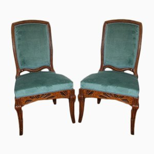 Antique Art Nouveau French Hogweed Chairs by Emile Gallé, Set of 2
