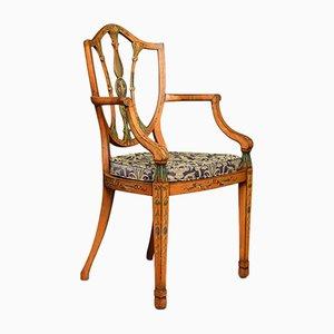 Sheraton Armlehnstuhl aus Seidenholz, 19. Jh.