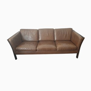 Vintage Danish Brown Leather Sofa, 1970s