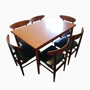 Danish Leather and Teak Dining Table & Chairs Set by Dyrlund, 1960s