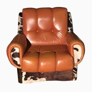 Rustikaler Sessel aus Leder & Fell, 1970er