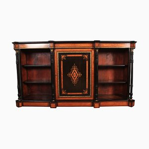 Antique Victorian Satinwood & Ebony Triple Open Bookcase