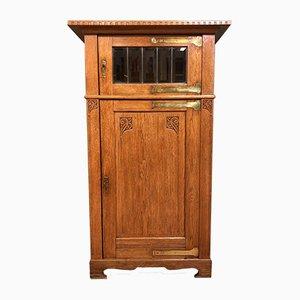 Antique Glass & Wood Linen Cabinet