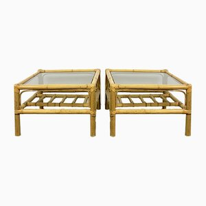 Glass and Bamboo Side Tables, 1960s, Set of 2